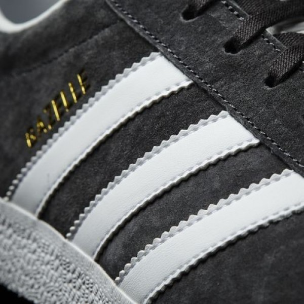 Adidas Gazelle Homme Dark Grey Heather Solid Grey/White/Gold Metallic Originals Chaussures NO: BB5480