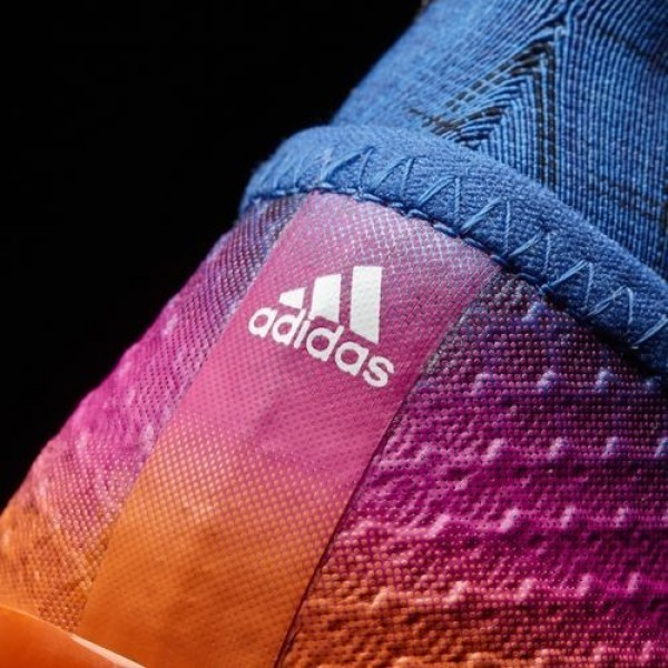 Adidas Messi 16+ Pureagility Terrain Souple Homme Blue/Footwear White/Solar Orange Football Chaussures NO: BB1871
