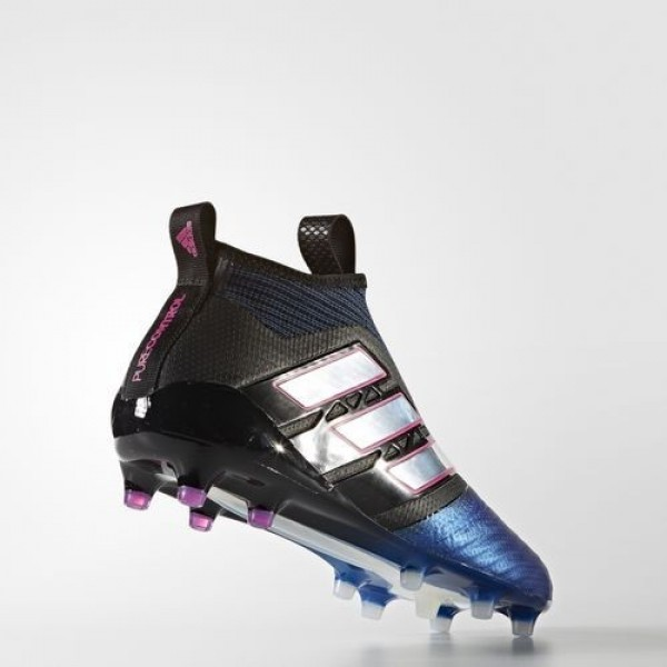 Adidas Ace 17+ Purecontrol Terrain Souple Homme Core Black/Footwear White/Blue Football Chaussures NO: BB4312