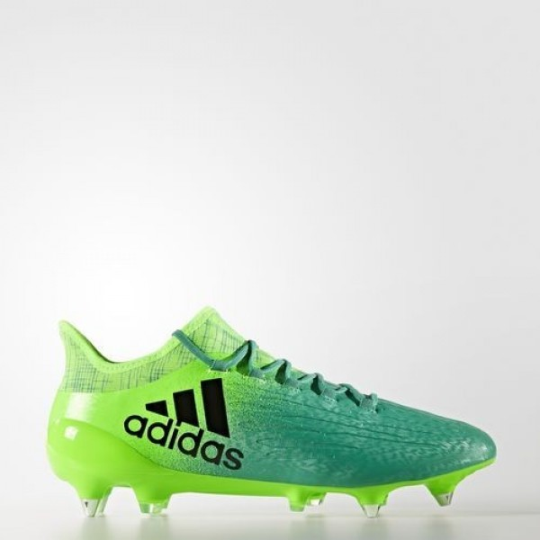 Adidas X 16.1 Terrain Gras Homme Solar Green/Core Black/Core Green Football Chaussures NO: BA7383