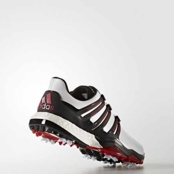 Adidas Powerband Boa Boost Wide Homme Footwear White/Core Black/Scarlet Golf Chaussures NO: Q44867