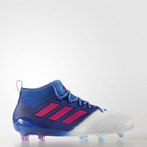 Adidas Ace 17.1 Primeknit Terrain Souple Homme Blue/Shock Pink/Footwear White Football Chaussures NO: BB4319