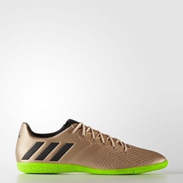 Adidas Messi 16.3 Indoor Homme Copper Metallic/Core Black/Solar Green Football Chaussures NO: BA9853