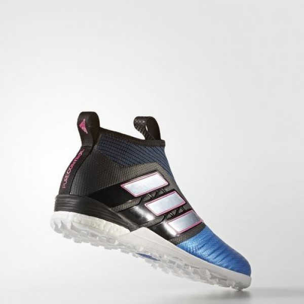Adidas Ace Tango 17+ Purecontrol Turf Homme Core Black/Footwear White/Blue Football Chaussures NO: S82079