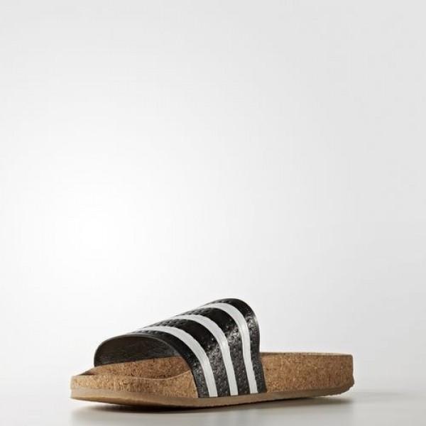 Adidas Sandale Adilette Cork Femme Core Black/Footwear White/Gum Originals Chaussures NO: BA7211