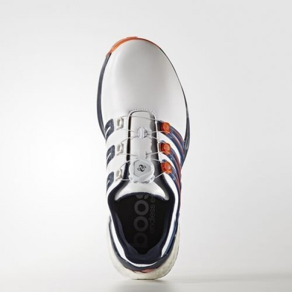 Adidas Powerband Boa Boost Wide Homme Footwear White/Dark Slate/Energy Golf Chaussures NO: Q44775
