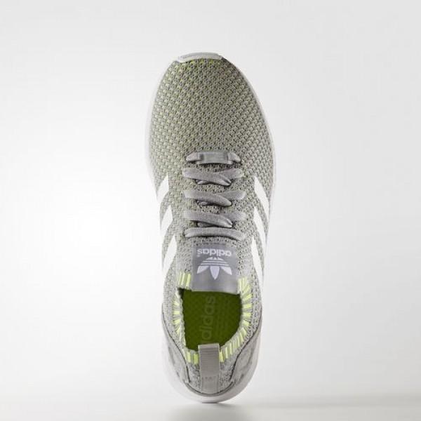 Adidas Zx Flux Primeknit Homme Mid Grey/Footwear White/Solar Yellow Originals Chaussures NO: BA7376